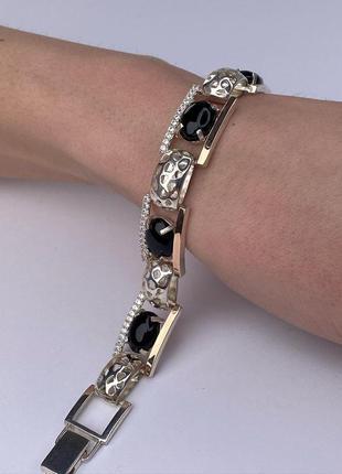Женский серебряный браслет с ониксом, 925, серебро с золотыми ...