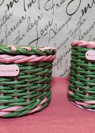 Набор: плетеная шкатулка и стакан