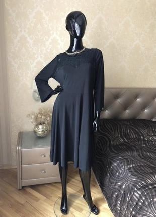 Платье чёрное с кружевом Италия, размер 50-52