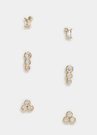 Набор из 3 пар серег-гвоздиков с кристаллами