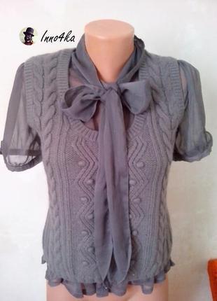 Красивая блуза, кофта с шифоновыми рукавами от next,