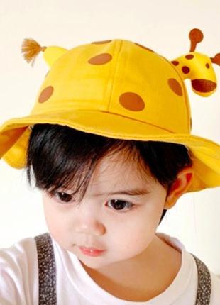 Детская панама жираф на резинке, унисекс