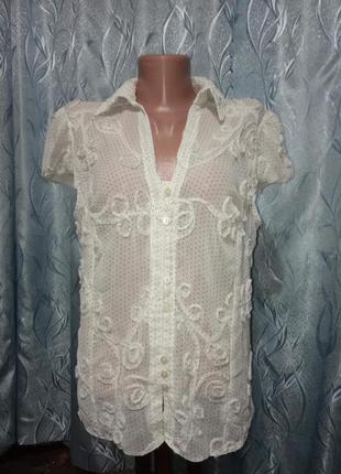 Шифоновая блуза в горошек
