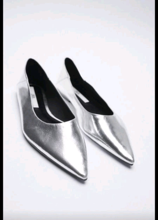 Балетки, туфли кожаные zara,38-38,5