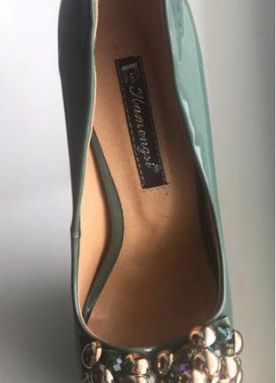 Туфли с открытым носком зелёный цвет 39 размер