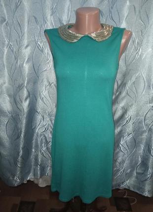 Трикотажное платье с красивым воротничком