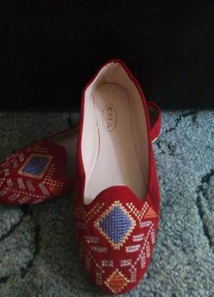 Новые балетки искусственный замш, вышивка, легкие. удобные 36 ,38