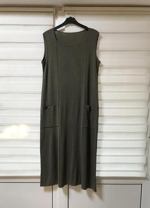 Трикотажное платье сарафан миди италия