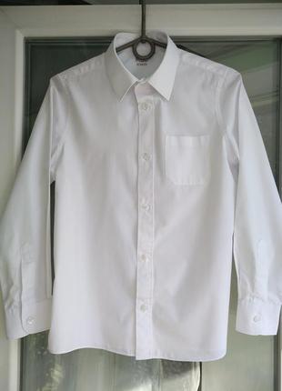 Рубашка m&s school р.152 мальчику 11-12лет, белая школьная