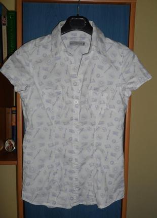 Блузка женская, девочке р. xs/s легкая рубашка с коротким рукавом