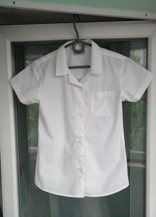 """Блузка-рубашка """"next"""" р.128 девочке 8 лет белая школьная"""