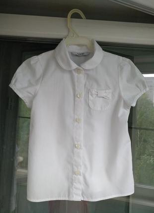 "Блузка ""george"" девочке 3-4года р.98-104 белая нарядная рубашка"