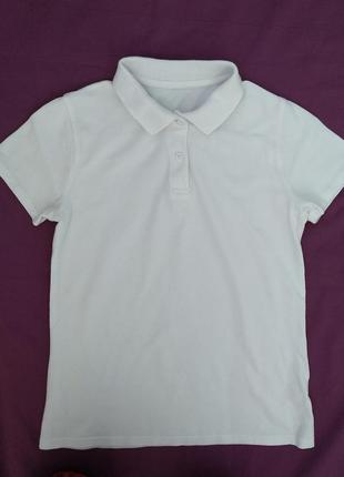 Тенниска f&f р.140-146 девочке 10-11лет белая футболка-поло