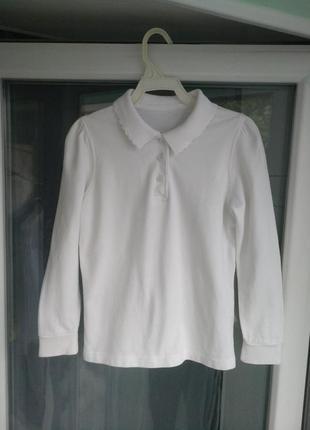 Кофточка-поло george р.116-122 девочке 6-7лет белая рубашка бл...