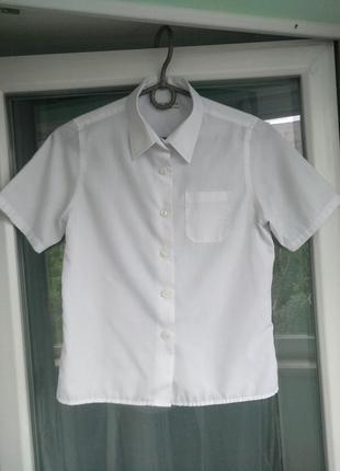 Блузка-рубашка m&s school р.134 девочке 8-9лет белая школьная
