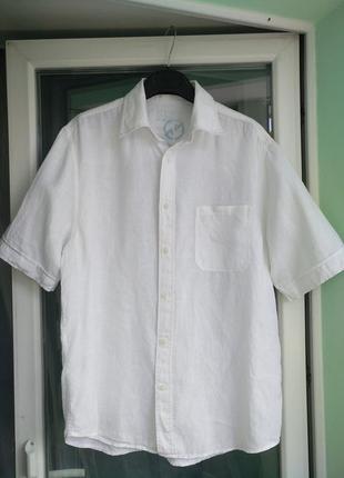 "Шведка ""next"" разм.m/l легкая летняя мужская рубашка, белая"