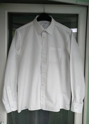 Рубашка m&s non-iron р.164 мальчику 13-14лет белая школьная