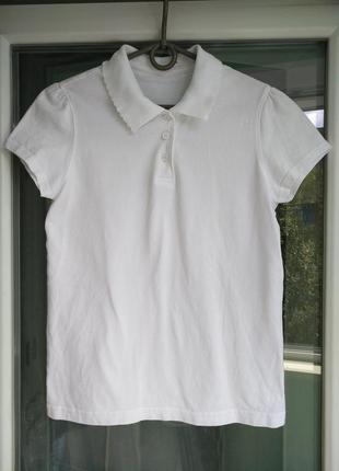 "Тенниска ""george"" р.158-164 белая футболка-поло девочке 13-14лет"