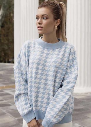 Голубой свитер с принтом гусачой лапки женский свитерок кофта...