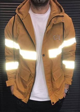 Куртка ветровка мужская светоотражающая оранжевая турция /...