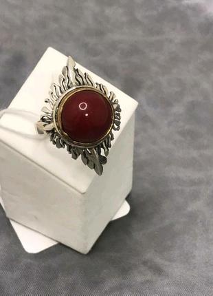 Эксклюзив!серебряное кольцо с кораллом, 925, черненое серебро