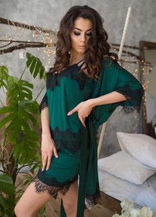 Шикарнейший комплект для дома пижама шорты майка халат с круже...