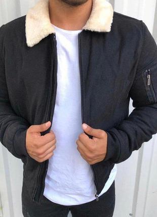 Куртка бомбер мужская черная с мехом турция / курточка ветровк...