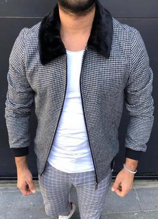 Куртка бомбер мужская в клетку с мехом турция / курточка ветро...
