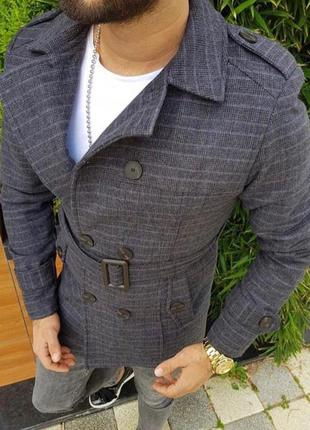 Пальто мужское в полоску серое турция / пальто чоловіче в смужку