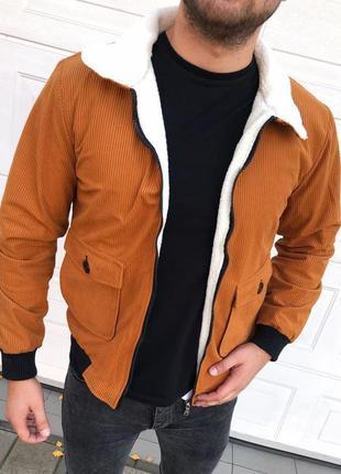 Куртка бомбер мужская коричневая с мехом турция / курточка чол...