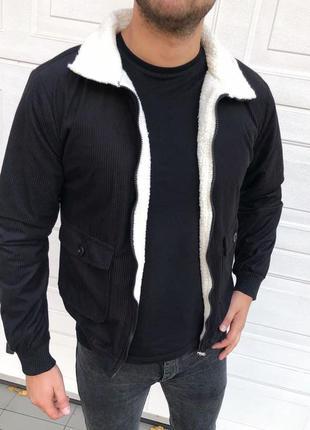 Куртка бомбер мужская черная с мехом турция / курточка чоловіч...