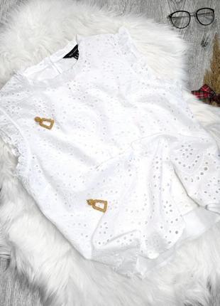 Белоснежная хлопковая блузка из прошвы рюши большой размер