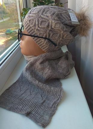 Новый осенний комплект: шапка с натуральным бубоном (енот) и ш...
