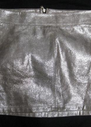 Юбка мини stradivarius серая серебристая блестящая