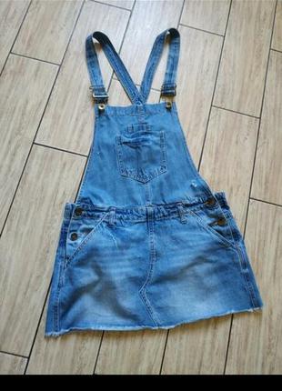 Джинсовый комбинезон комбез с юбкой джинсовыц