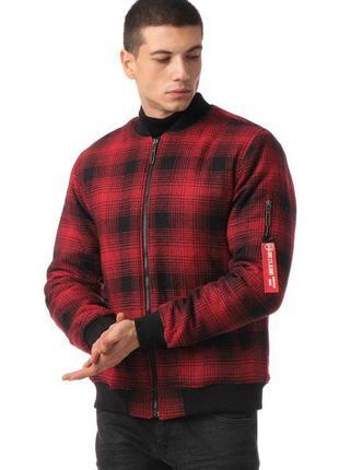 Куртка бомбер мужская в клетку красный турция / курточка ветровка