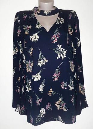 Шикарная блузка с чокером в цветочный принт рукав клеш