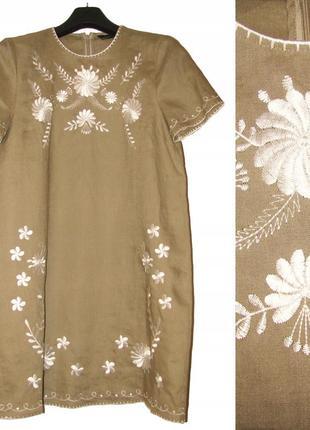 Летнее льняное  платье с вышивкой   с коротким рукавом 🌿