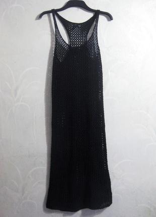 Платье h&m чёрное миди сетка вязаное