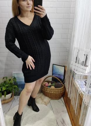 Актуальный вязаный свитер платье в косы от asos
