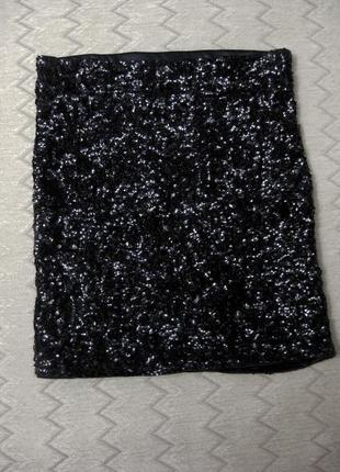 Юбка мини vero moda облегающая обтягивающая чёрная блестящая п...