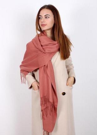 Палантин широкий шарф пашмина нежная терракота темно розовый