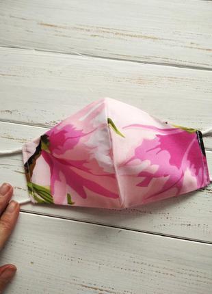 Маска розовая цветочная композиция защитная хлопковая для лица