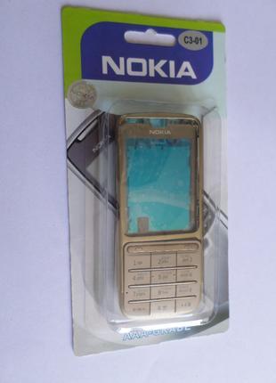 Корпус Nokia C3-01 GOLD+клавиатура Супер качество