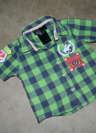Рубашка детская с коротким рукавом зеленая в клетку на малыша 3