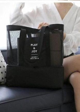 Фирменная пляжная сумка трансформер 2в1 blackedition