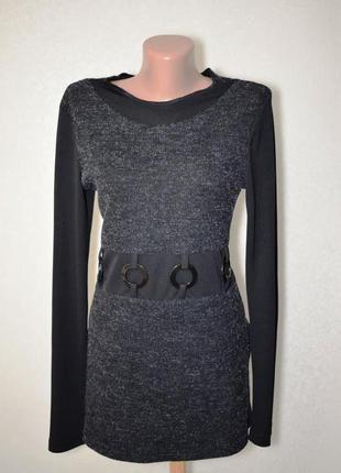 Необычная кофта с шерстью и комбинированными вставками, размер м