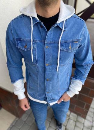 Джинсовка джинсовый пиджак мужская с капюшоном синяя / піджак ...