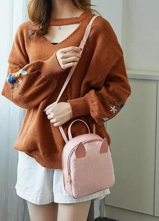 Міні рюкзак хутряний з вушками жіночий дитячий детский женский