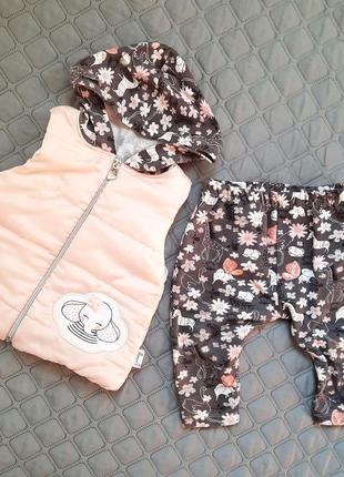 Комплект на весну жилеточка и лосинки на девочку 12-18 месяцев